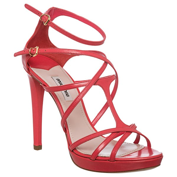 Miu Miu Women's Leather Strappy Platform Sandals
