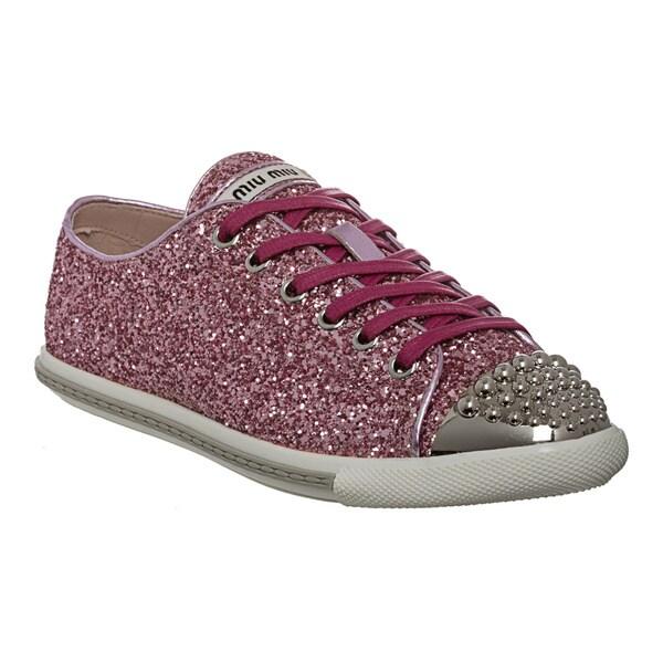 Miu Miu Women's Glitter Studded Toe Sneakers