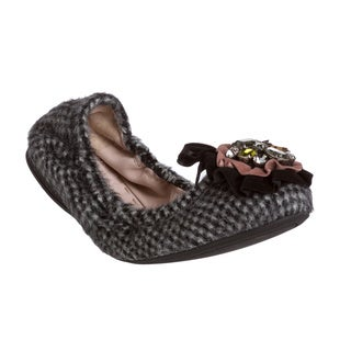 Miu Miu Women's Check Print Faux Fur Jeweled Ballet Flats