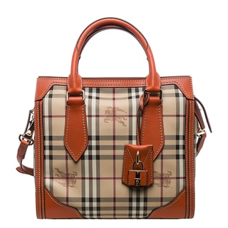 Burberry Small Haymarket Classic Honeywood Tote