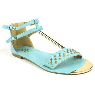 Fahrenheit Women's 'FAMKE-03' Mint Metallic T-strap Studded Flat Sandals