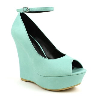 Mark & Maddux Women's 'SHIA-01' Green Peep-toe Basic Wedge Heels