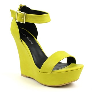 Mark & Maddux Women's 'SHIA-03' Yellow Open-toe Basic Wedge Heels
