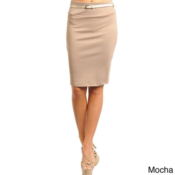 Stanzino Women's Belted Solid Pencil Skirt