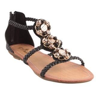 Machi by Beston Women's 'APPLE-2' Faux Leather Flat Gladiator Sandals