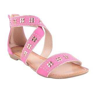 Machi by Beston Women's 'ELLIE-2' Flat Criss-Cross Gladiator Sandals in Fuchsia