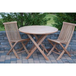 Solid Teak 3-piece Round Bistro Sets