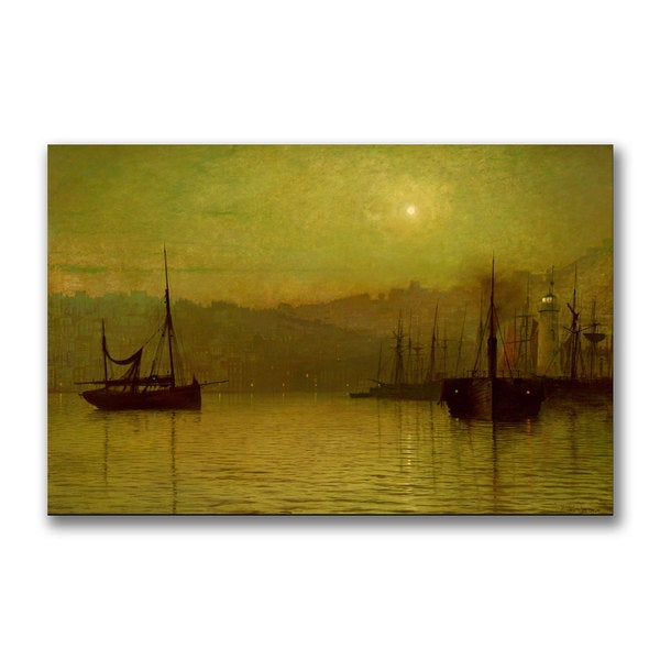 John Grimshaw 'Calm Waters Scarborough' Canvas Art