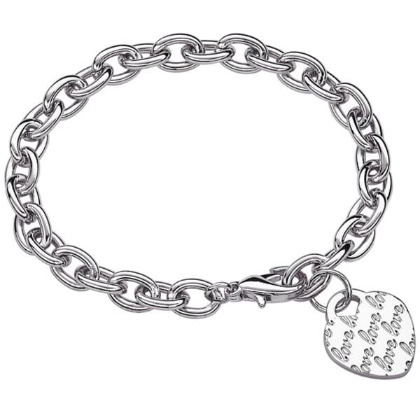 Silvertone 'Lots of Love' Heart Initial Charm Bracelet