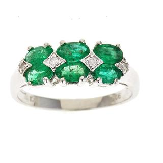 D'Yach Sterling Silver Emerald and Diamond Accent Ring