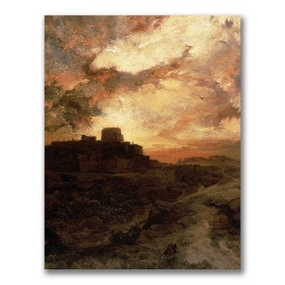 Thomas Moran 'Sunset Pueblo del Walpe Arizona' Canvas Art