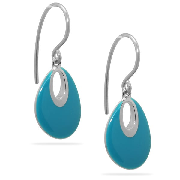 Gioelli Sterling Silver Turquoise Enamel Drop Earrings