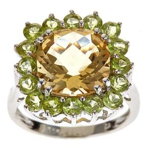 D'Yach Sterling Silver Citrine and Peridot Ring