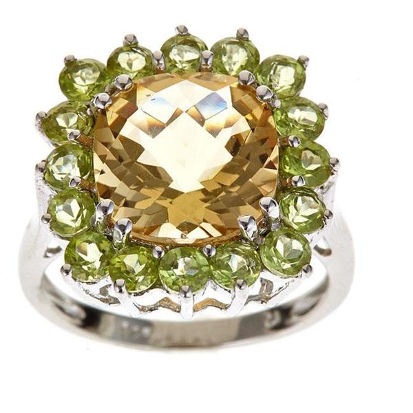 Anika and August Sterling Silver Citrine and Peridot Ring