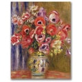 Pierre Renoir 'Vase of Tulips and Anemones' Canvas Art