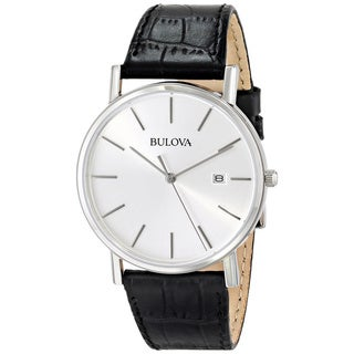 Bulova Men's 96B104 Black Leather Strap Date Watch