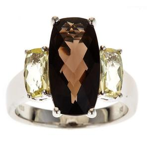 D'Yach Sterling Silver Smoky Quartz and Lemon Quartz Ring