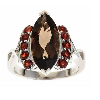 Anika and August Sterling Silver Smoky Quartz and Red Garnet Ring