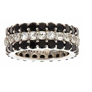 D'Yach Sterling Silver Black Spinel and White Topaz Band