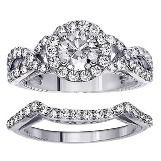 18k White Gold 2.45ct FDW Halo Diamond Engagement Ring Bridal Set (F-G, SI1)