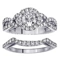 18k White Gold 2.45ct FDW Halo Clarity Enhanced Diamond Engagement Ring Bridal Set (F-G, SI1)