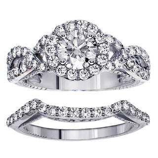 Platinum 2.45ct Halo Diamond Engagement Ring Bridal Set (F-G, SI1-Si2)