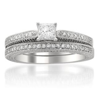 14k Gold 5/8ct TDW Princess-cut Diamond Bridal Ring Set (H-I, SI2)