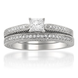 14k Gold 5/8ct TDW Princess-cut Diamond Bridal Ring Set (H-I, SI2)
