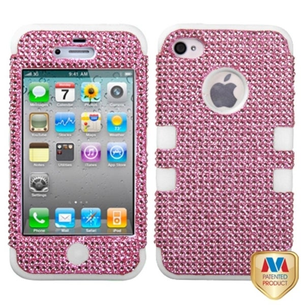BasAcc Pink Diamond/ Solid White Hybrid Case for Apple iPhone 4S/ 4