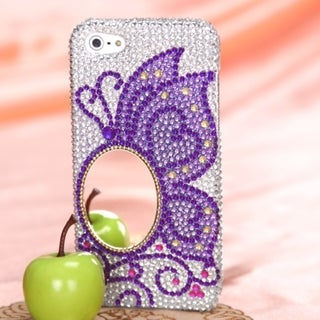 INSTEN Purple Butterfly Rhinestone Phone Case Cover for Apple iPhone 5