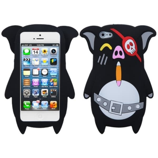 INSTEN Black Pirate Skull Pig Phone Case Cover for Apple iPhone 5
