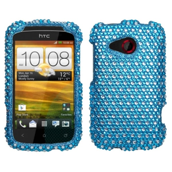 INSTEN Blue/ White Dots Diamante Phone Case Cover for HTC Desire C