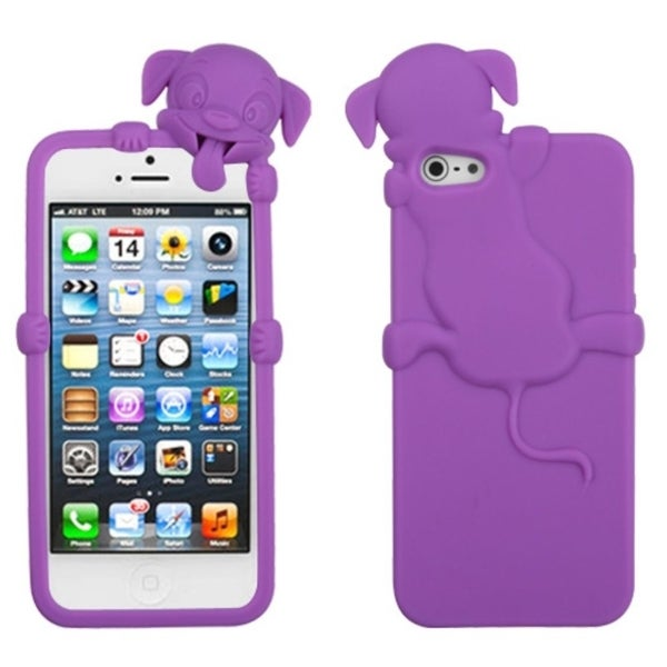 INSTEN Electric Purple Dog Phone Case Cover for Apple iPhone 5