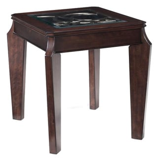 'Ombrio' Wood and Glass Inset Rectangular End Table