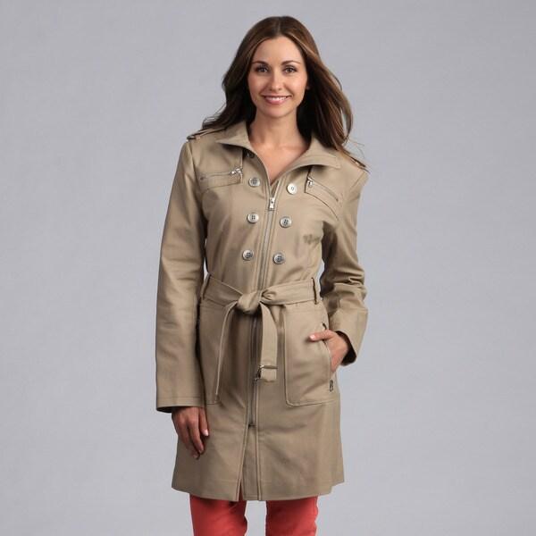 Kenneth Cole Women's Belted Zipper Front Rain Coat
