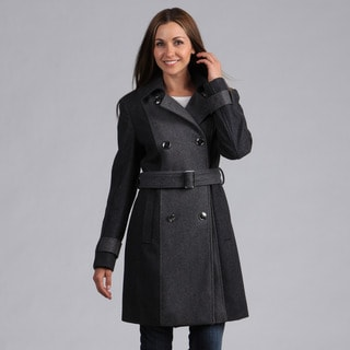 Kenneth Cole Women's Two-tone Double Breasted Coat