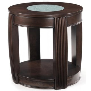 Ino Wood and Glass Oval End Table