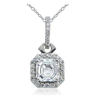 Icz Stonez Sterling Silver Asscher-cut Cubic Zirconia Square Halo Necklace