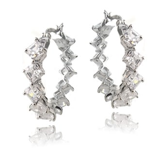 Icz Stonez Sterling Silver Asscher-cut Cubic Zirconia Hoop Earrings