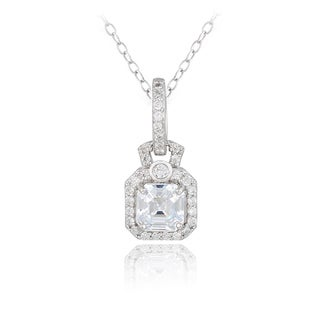 Icz Stonez Sterling Silver Asscher-cut Cubic Zirconia Square Necklace