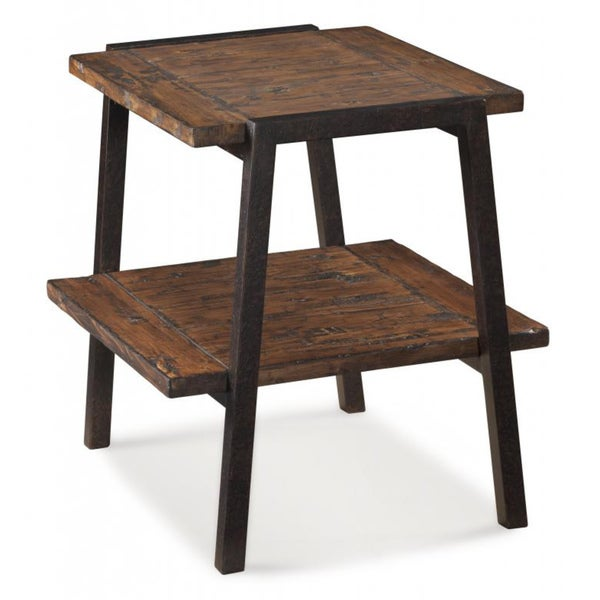 Lawton Wood/ Metal Rectangular End Table