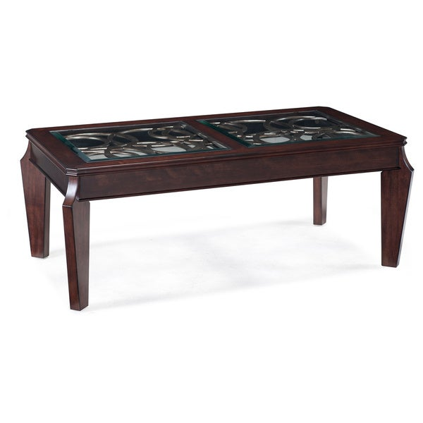 'Ombrio' Cherry Finished Tempered Glass-top Cocktail Table