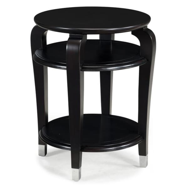 'Harper' Black and Cherry Glass-top Round Accent Table