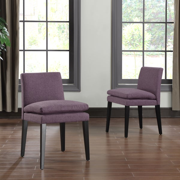 Portfolio Orion Amethyst Purple Linen Upholstered Dining Lavender Room Chairs