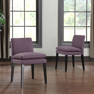 Portfolio Orion Amethyst Purple Linen Upholstered Dining Chairs (Set of 2)
