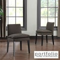 Portfolio Orion Chocolate Brown Linen Upholstered Dining Chairs (Set of 2)