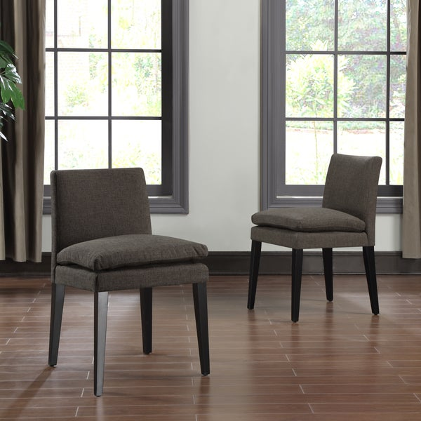 Portfolio orion chocolate brown linen upholstered dining for Low back parsons dining chair