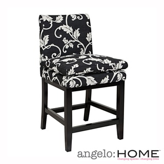 angelo:HOME Marnie Black/ White Vine Upholstered 23-inch Bar Stool