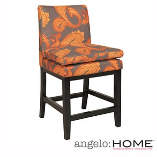 angelo:HOME Marnie Desert Sunset Brown Paisley Upholstered 23-inch Bar Stool