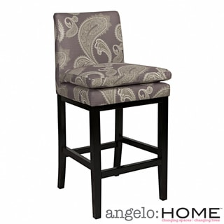 angelo:HOME Marnie Feathered Paisley Amethyst Purple Upholstered 29-inch Bar Stool
